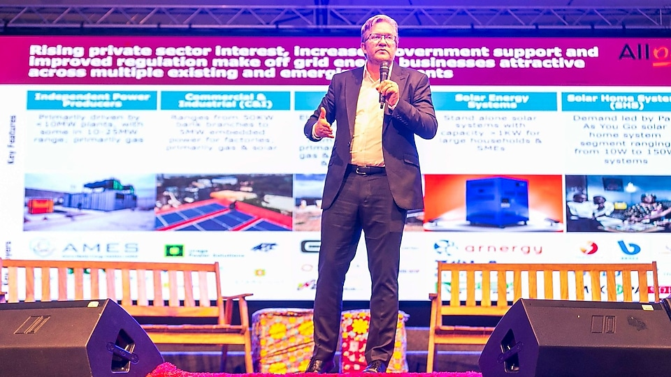 "Dr. Wiebe Boer during his demo on ""Nigeria's off-grid energy revolution Challenges & opportunities"